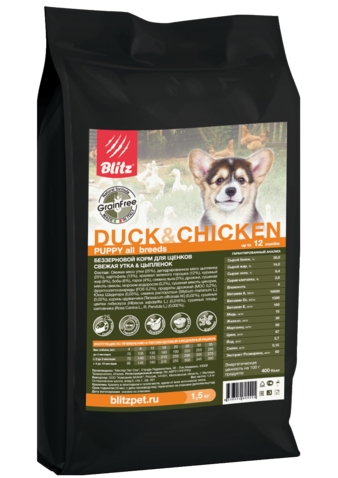 Корм для собаки Blitz Holistic Puppy Duck & Chiken Grain Free, мешок 12 кг